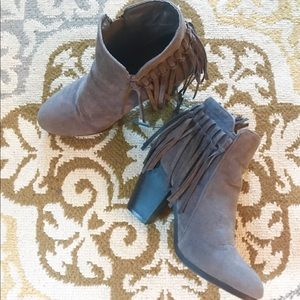 Shoes - Suede Fringe Booties